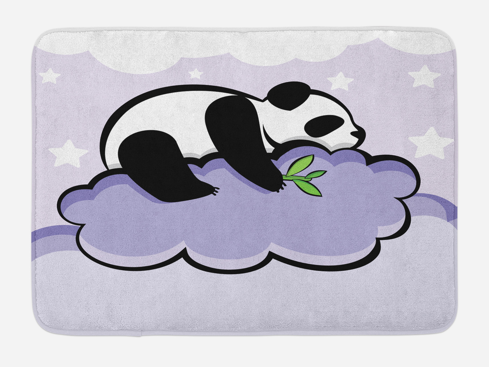 Panda Bath Mat, Panda Bear Sleeping on Cloud in Starry Night Sky Children Cartoon... by 3decor llc