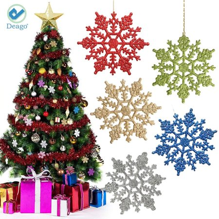 Deago 12 Pcs Christmas Plastic Glitter Snowflake Ornaments Decoration For Tree Holiday Xmas Party Store Home Décor (3.93inch) ()