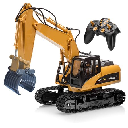Top Race 15 Channel Full Functional Remote Control Grapple Fork Excavator Construction Tractor, Excavator Toy with 2.4Ghz Transmitter and Metal Fork – TR 215