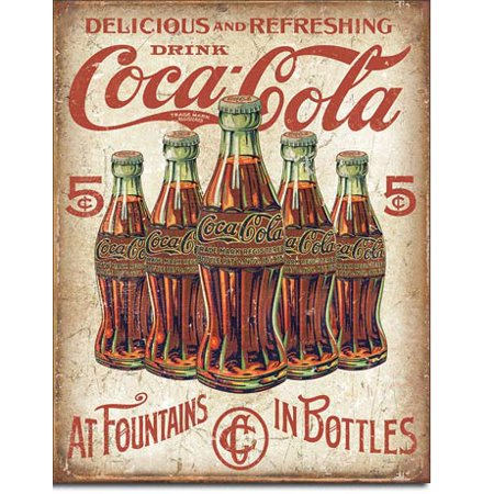 Coca Cola At Fountains In Bottles Tin Sign