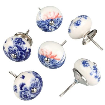 6 Pcs Ceramic Knobs Drawer Pull Cupboard Handles Door