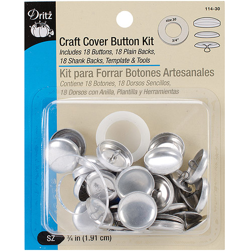 "Dritz Craft Cover Button Kit, 3/4"", 18 Sets w/Template & Tools"