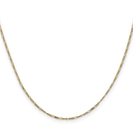 14k Yellow Gold 1.25mm Flat Polished Figaro Chain Necklace 24