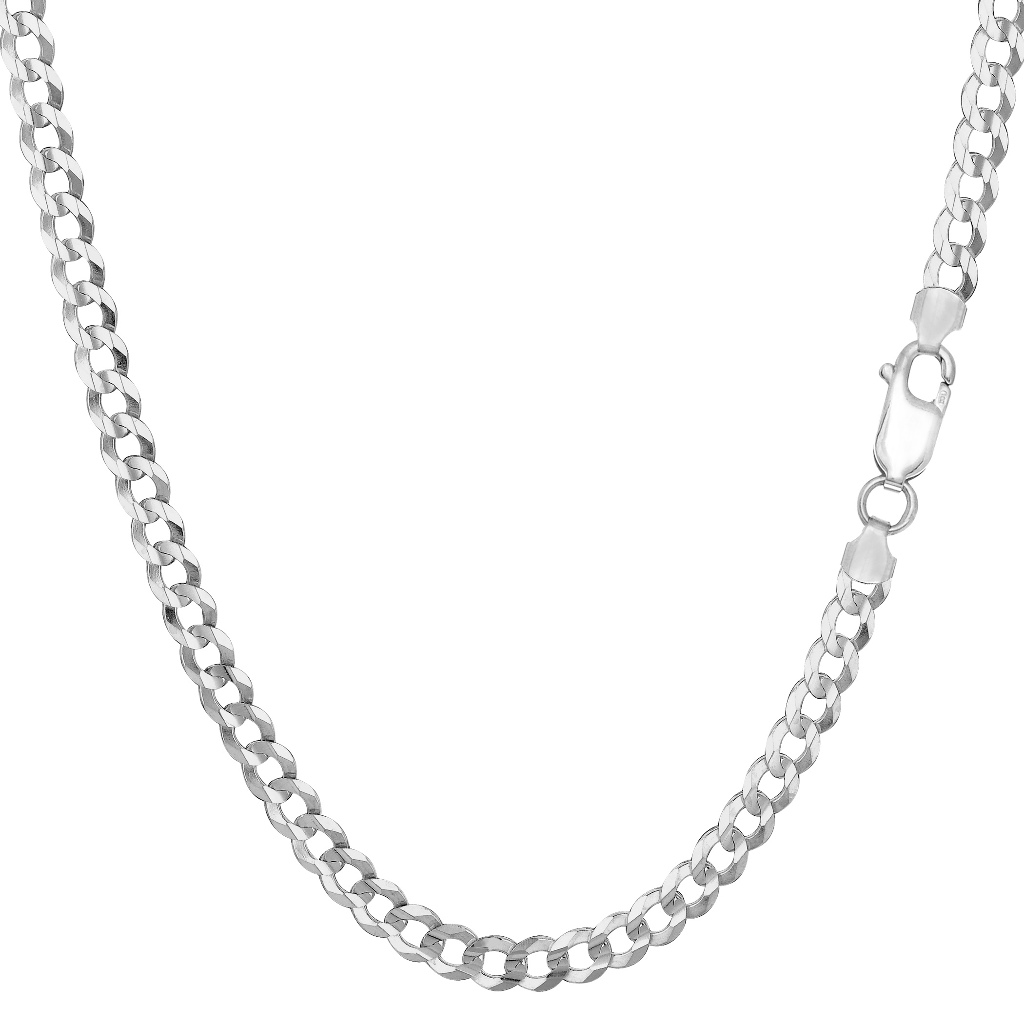 """Sterling Silver Rhodium Plated Curb Chain Necklace, 3.7mm, 20"""" - image 1 de 1"""