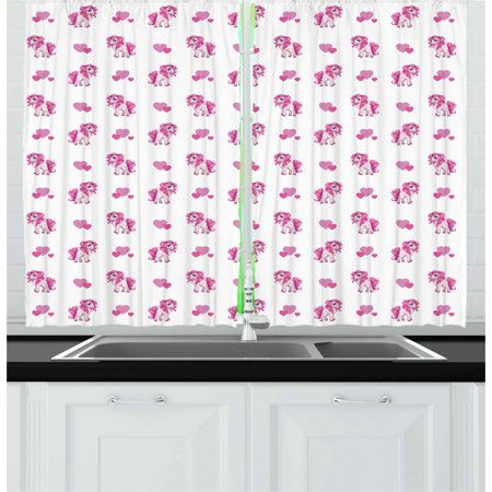 Love Curtains 2 Panels Set, Pink Hearts and Magical Pony Horse Kids Girls Design Fairytale Toy Animal Cartoon, Window Drapes for Living Room Bedroom, 55W X 39L Inches, Hot Pink White, by Ambesonne