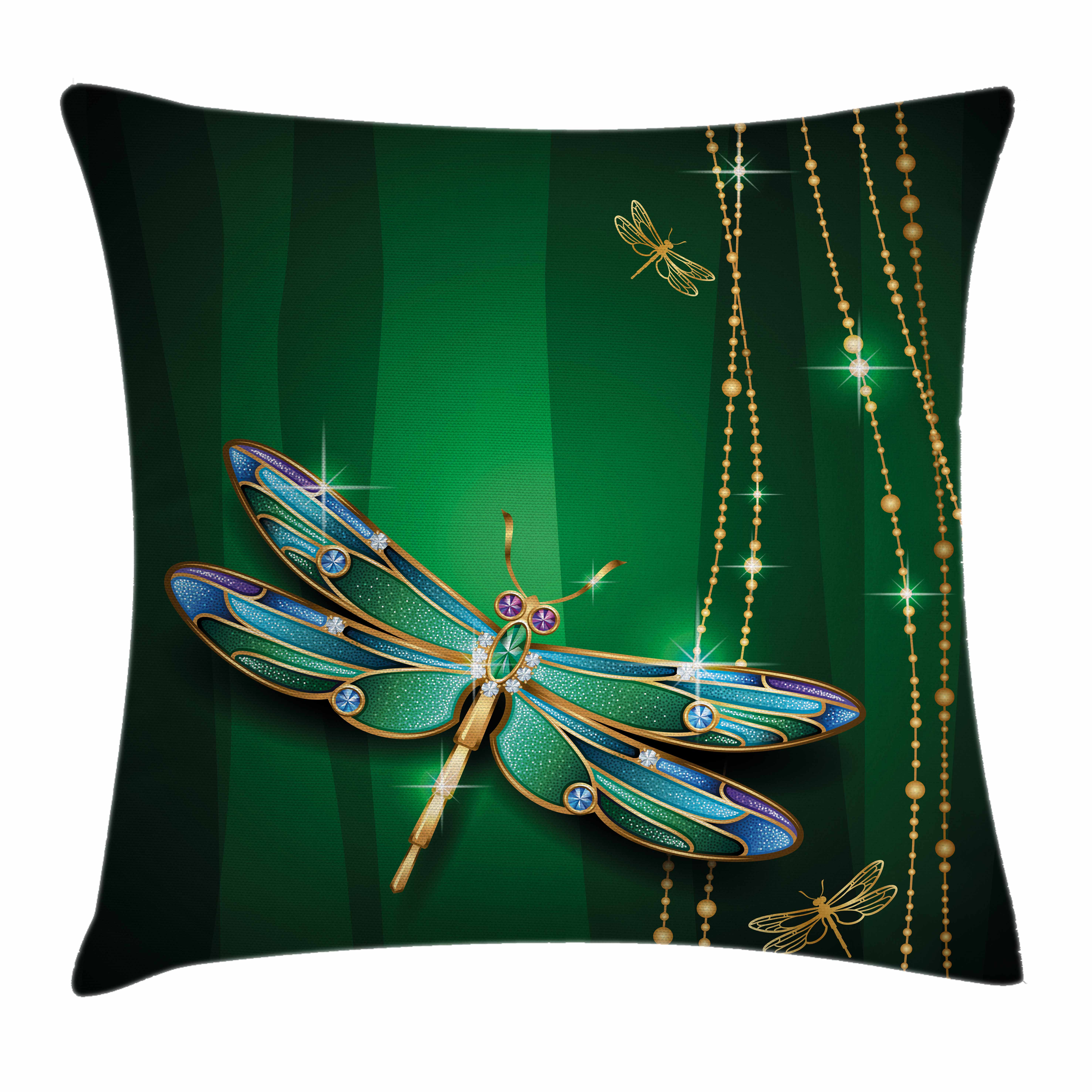 Dragonfly Throw Pillow Cushion Cover, Vivid Figures in Gemstone Crystal Diamond Shapes Graphic Artsy Effects, Decorative Square Accent Pillow Case, 18 X 18 Inches, Gold Hunter Green, by Ambesonne