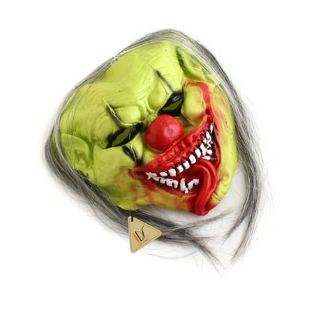 Green CLOWN COSTUME MASK Latex Horror Christmas Party Fancy Dress Costume - Monster Mash Halloween Party