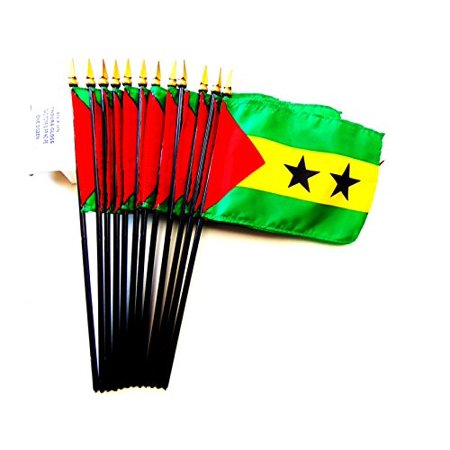 "Image of ""! Box of 12 Sao Tome and Principe 4""""x6"""" Miniature Desk & Table Flags; 12 American Made Small Mini São Tomé and Príncipe Flags in Custom Made Cardboard Box Specifically Made for These Flags"""