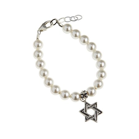 Swarovski White Pearls with Sterling Silver Star of David Charm (Pearl Star Charm)