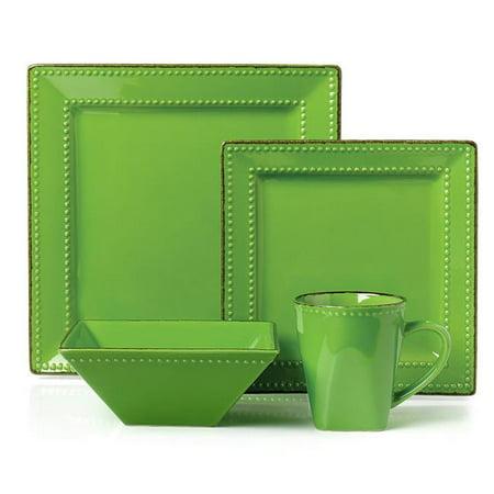 - 16 Piece Square Beaded Stoneware Dinnerware Set, Green