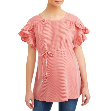 Oh! MammaMaternity stripe ruffle sleeve top - available in plus sizes