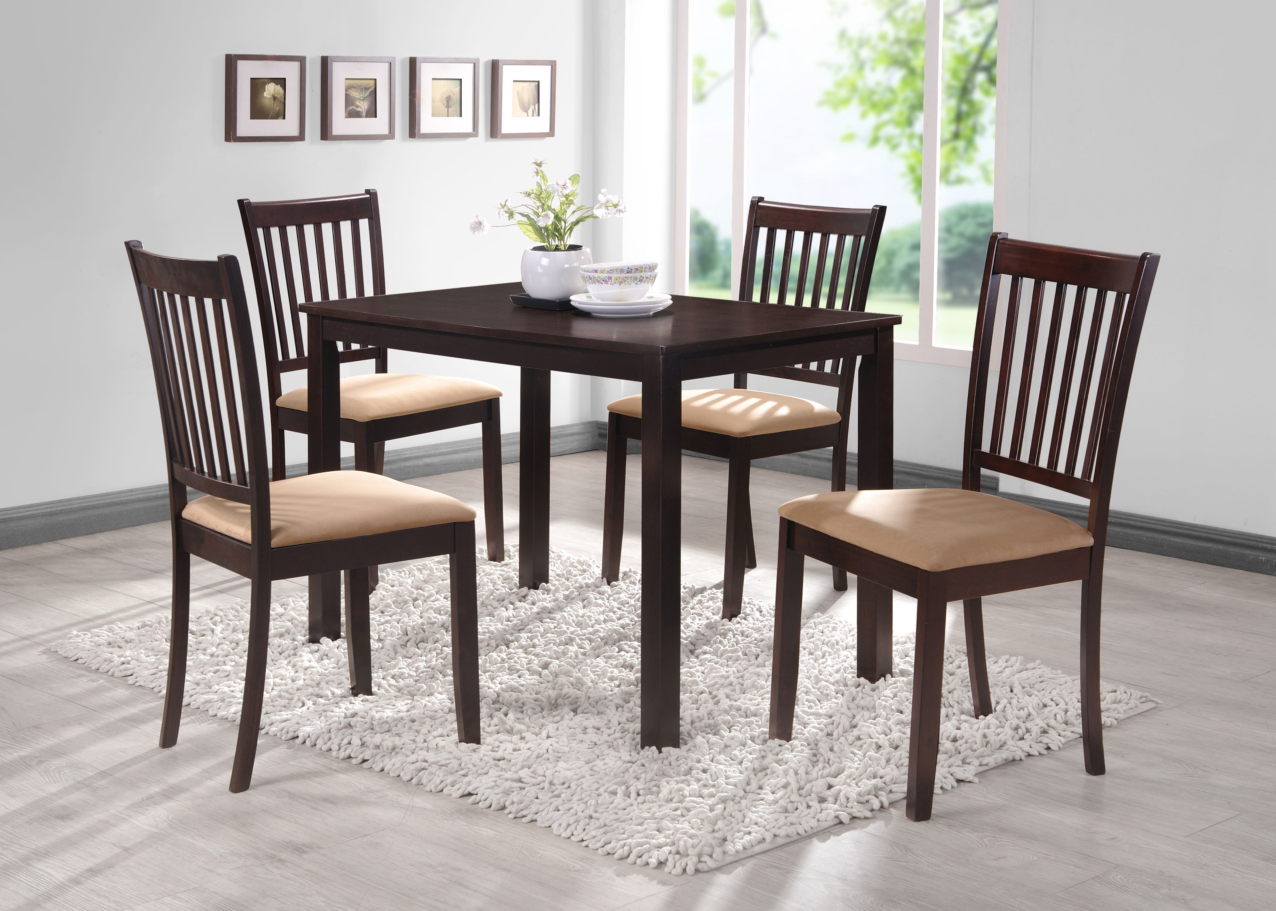 Townsend 5 Piece Kitchen Dining Set Cappuccino Wood 43 Rectangular Contemporary Table 4 Chairs Walmart Com