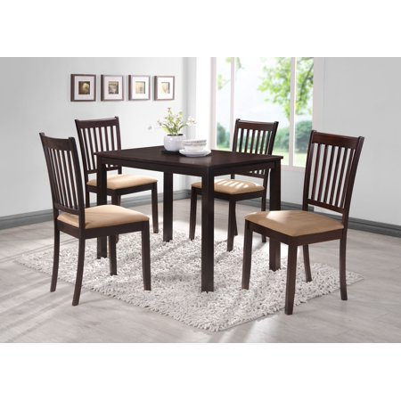 """Townsend 5 Piece Kitchen Dining Set, Cappuccino Wood, 43"""" Rectangular, Contemporary (Table & 4 Chairs)"""