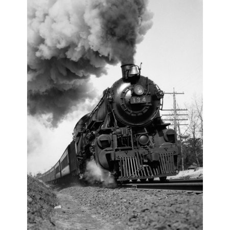 1920s-1930s Steam Engine Pulling Passenger Train Smoke Billowing From Exhaust Stack Print By Vintage Collection ()