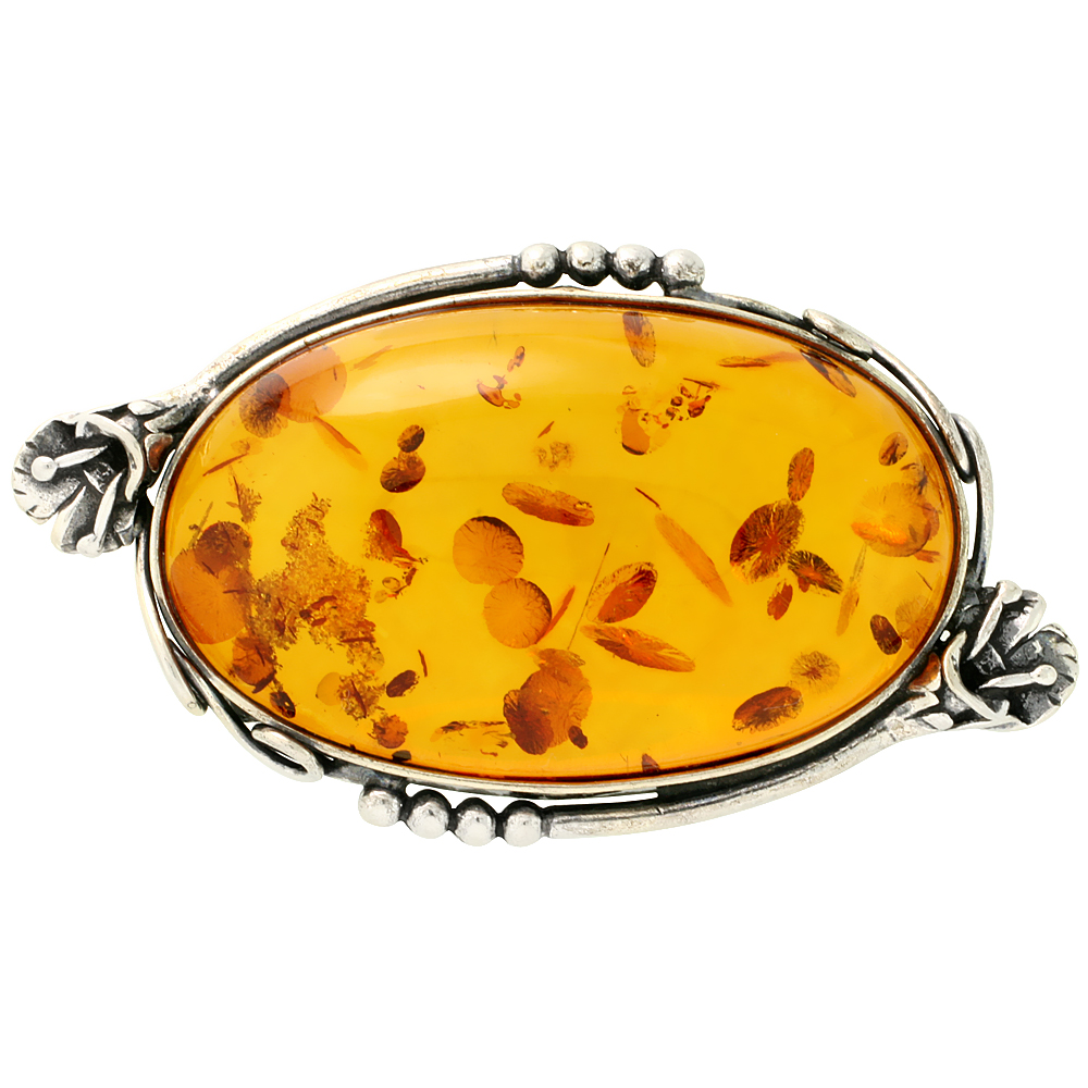Sterling Silver Large Oval Russian Baltic Amber Brooch Pin with Flower Accents, 2 1 4 inch wide by WorldJewels