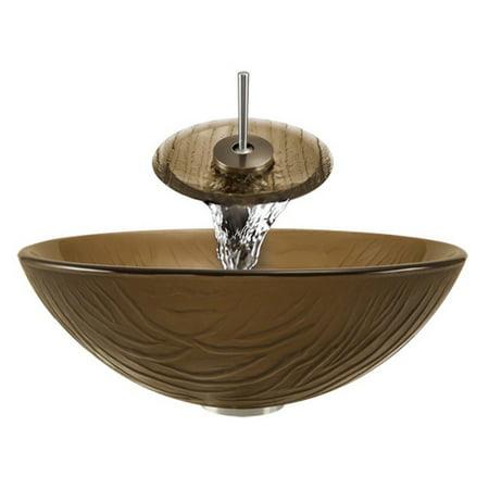 Aurora Sinks A18 Glass Vessel Brushed Nickel Bathroom Ensemble With Grid Drain