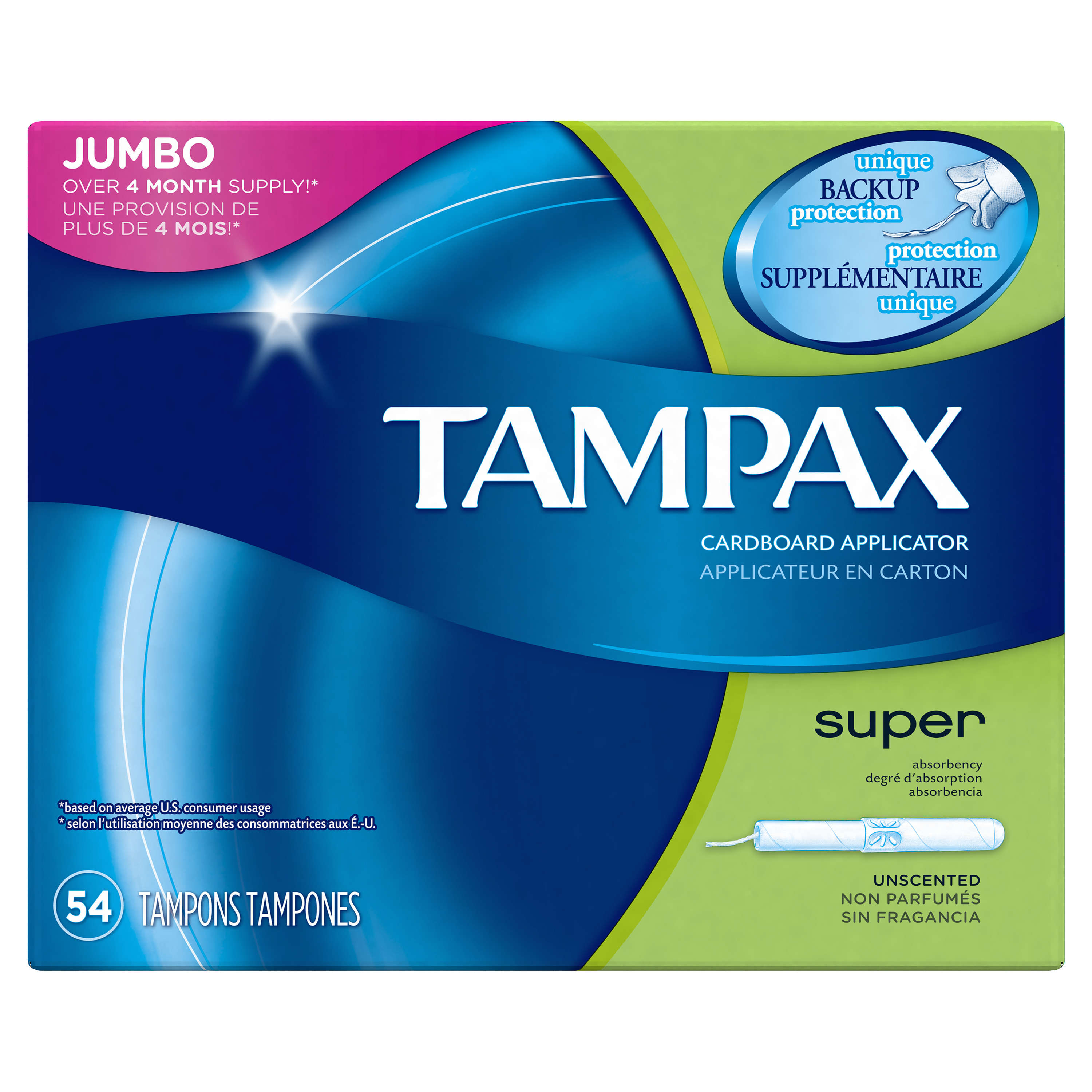 Tampax Cardboard Super Tampons, Unscented, 54 count
