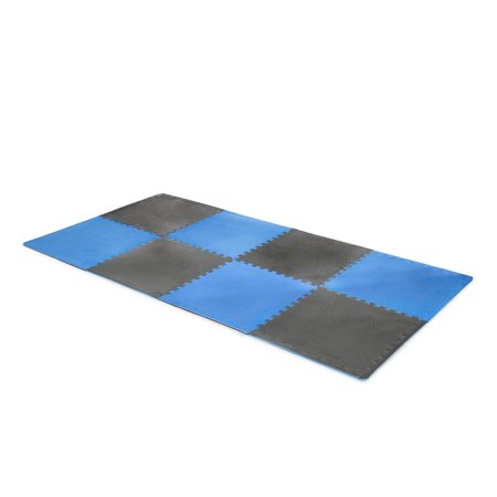CAP High Density Reversible 4-Piece 13.7 Sq Ft Puzzle Exercise Mat, Gray/Blue