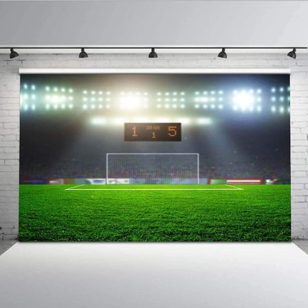 ABPHOTO Polyester 7x5ft Backdrop Football Field Green Grass Score Counter Goal Spotlight Background Backdrop for Kids and Boys Photography