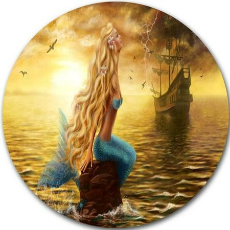 Graphic Design Art (Design Art 'Sea Mermaid with Ghost Ship' Graphic Art Print on Metal )