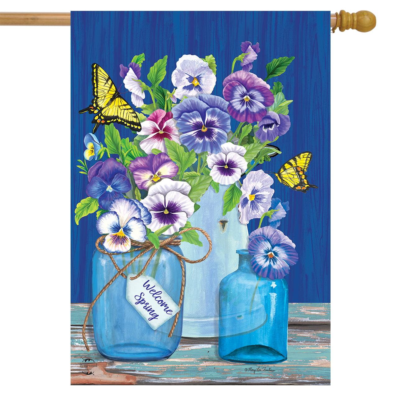 Butterflies And Pansies Spring House Flag Mason Jars 28 X 40 Briarwood Lane Walmart Com Walmart Com