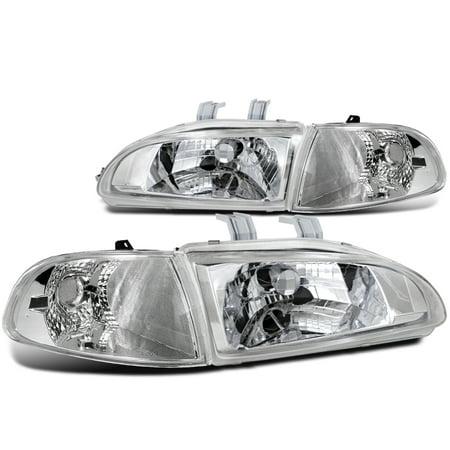 - Spec-D Tuning 1992-1995 Honda Civic Si Dx Cx Hatchback Chrome Crystal Corner Lamps Headlights (Left + Right) 92 93 94 95