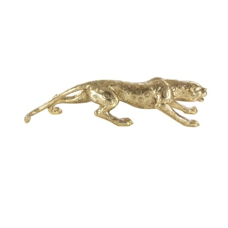 Decmode Glam 10 x 46 inch carved leopard polystone sculpture, (Carved Leopard)