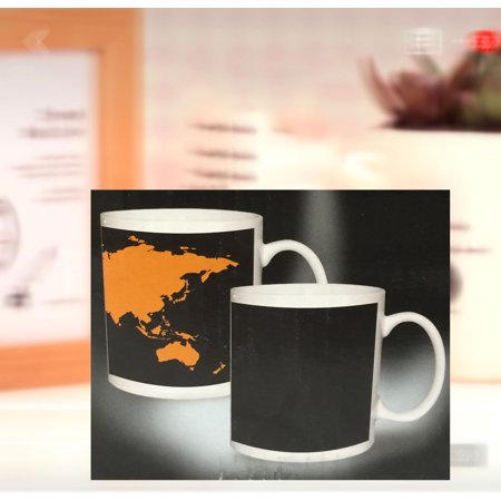 Thermo Sensitive Cup. Color changing with heat. World Map Morning Mug; Product Size: 4.5x 3.75x 3. Office, Class room, Dorm, Mug](Plastic Color Changing Cups)