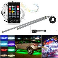 TSV 4Pcs Car LED Neon Undercar Glow Light Underglow Atmosphere Decorative Bar Lights Kit Strip, 5050 SMD Underbody System Waterproof Tube with Sound Activated