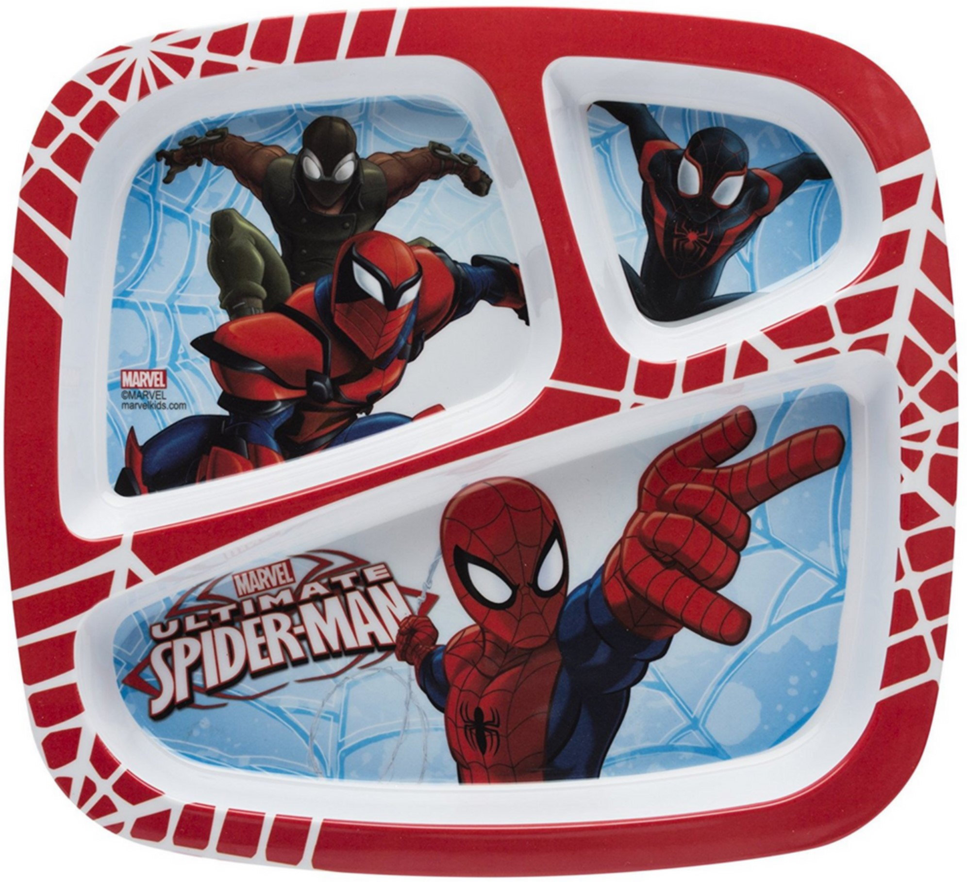 Zak! Designs 3-Section Plate, Ultimate Spiderman 1 ea (Pack of 3) by