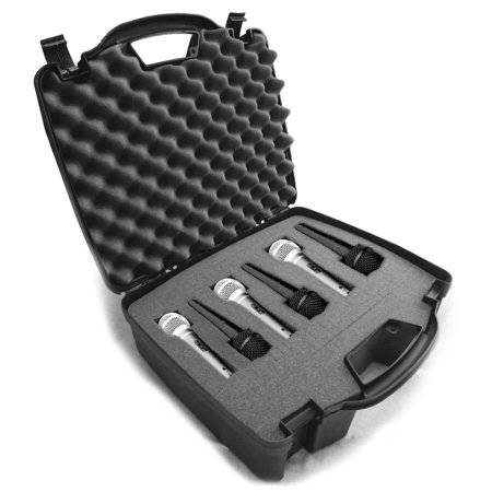 STUDIOCASE Six Mic Cardioid Dynamic and Vocal Microphone Hard Case w/ Dense Internal Customizable Foam - Fits Multiple Shure SM58 , SM48 , PG48 , SM57 , PG58 XLR Microphones and More