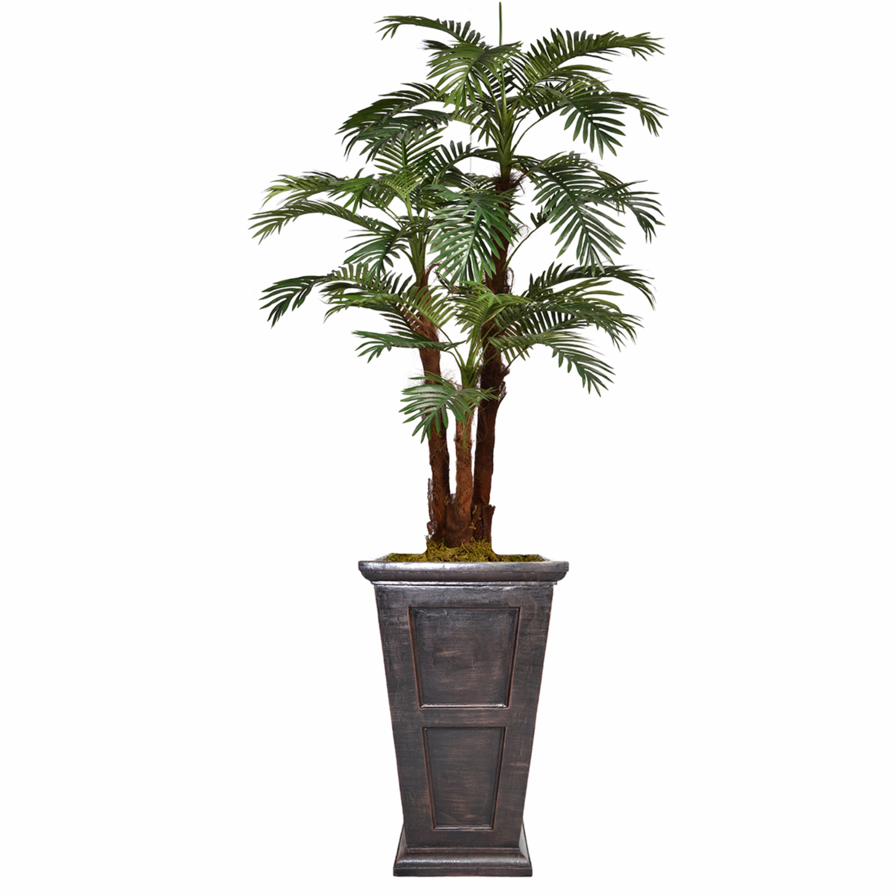 """84.8"""" Tall Palm Tree Artificial Decorative Indoor/ Outdoor Faux with Burlap Kit and Fiberstone Planter By Minx NY"""