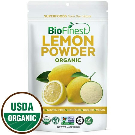 Biofinest Lemon Powder - 100% Pure Antioxidants Superfood - USDA Certified Organic Kosher Vegan Raw Non-GMO- Boost Digestion Weight Loss - Fresh Fruit For Smoothie Beverage (4 oz Resealable