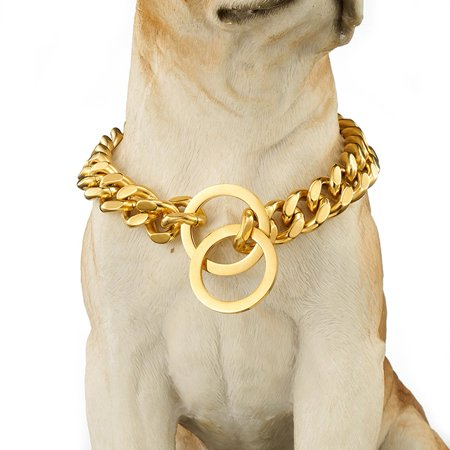 Moaere 17mm Stianless Steel Dog Puppy Necklace Choke Chain Training Collar Link for (Chrome Steel Dog Choke Chain)