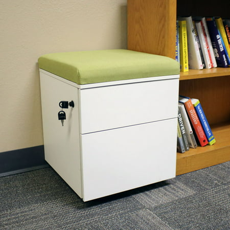 Rolling Mobile Pedestal Storage Cabinet with Lock and Cushion, Steel 2-Drawer for Home or Office by CASL Brands, Green