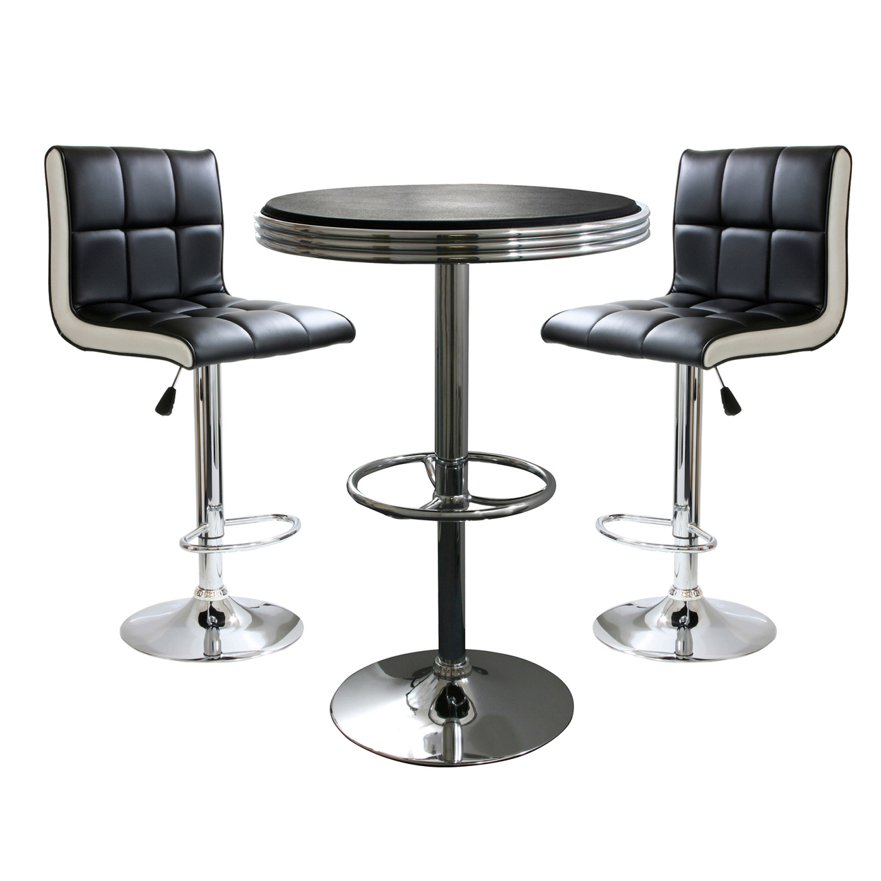 AmeriHome BSSET19 3 Piece Contemporary Two Tone Bar Set by