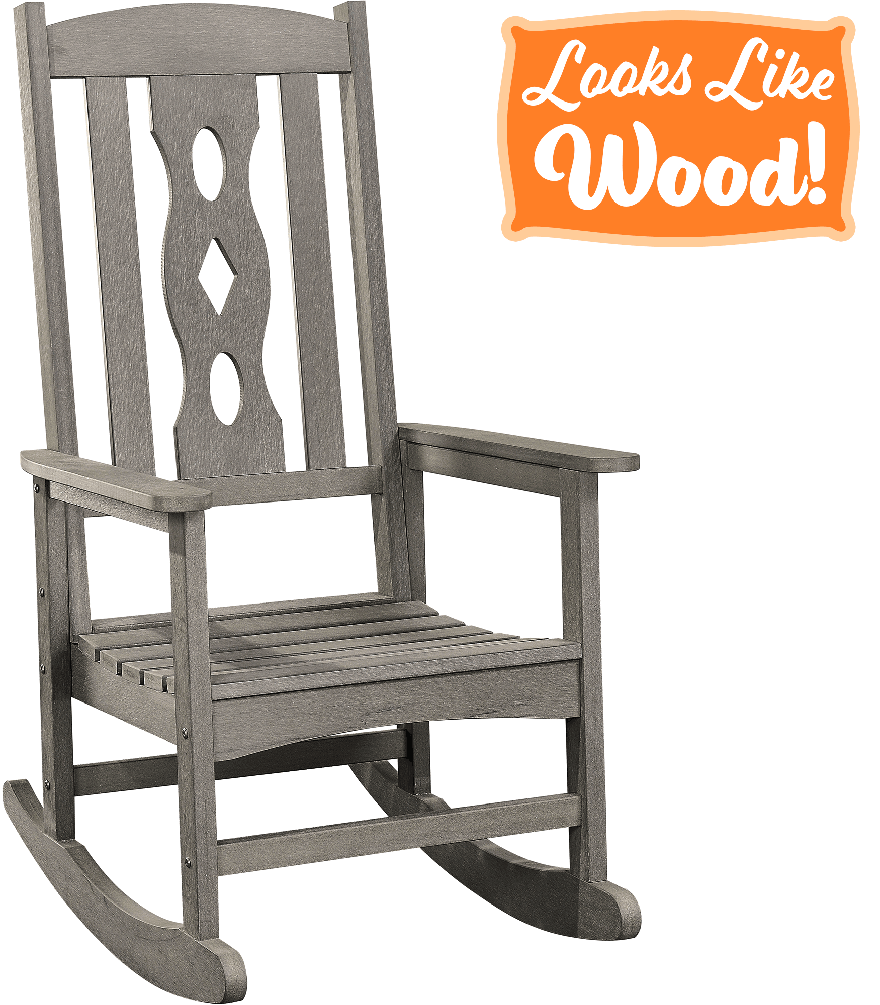 PolyTEAK Plastic Polylumber New 2021 All Weather Porch and Patio Created and Designed in California Matte Black PolyTEAK Modern Rocking Chair
