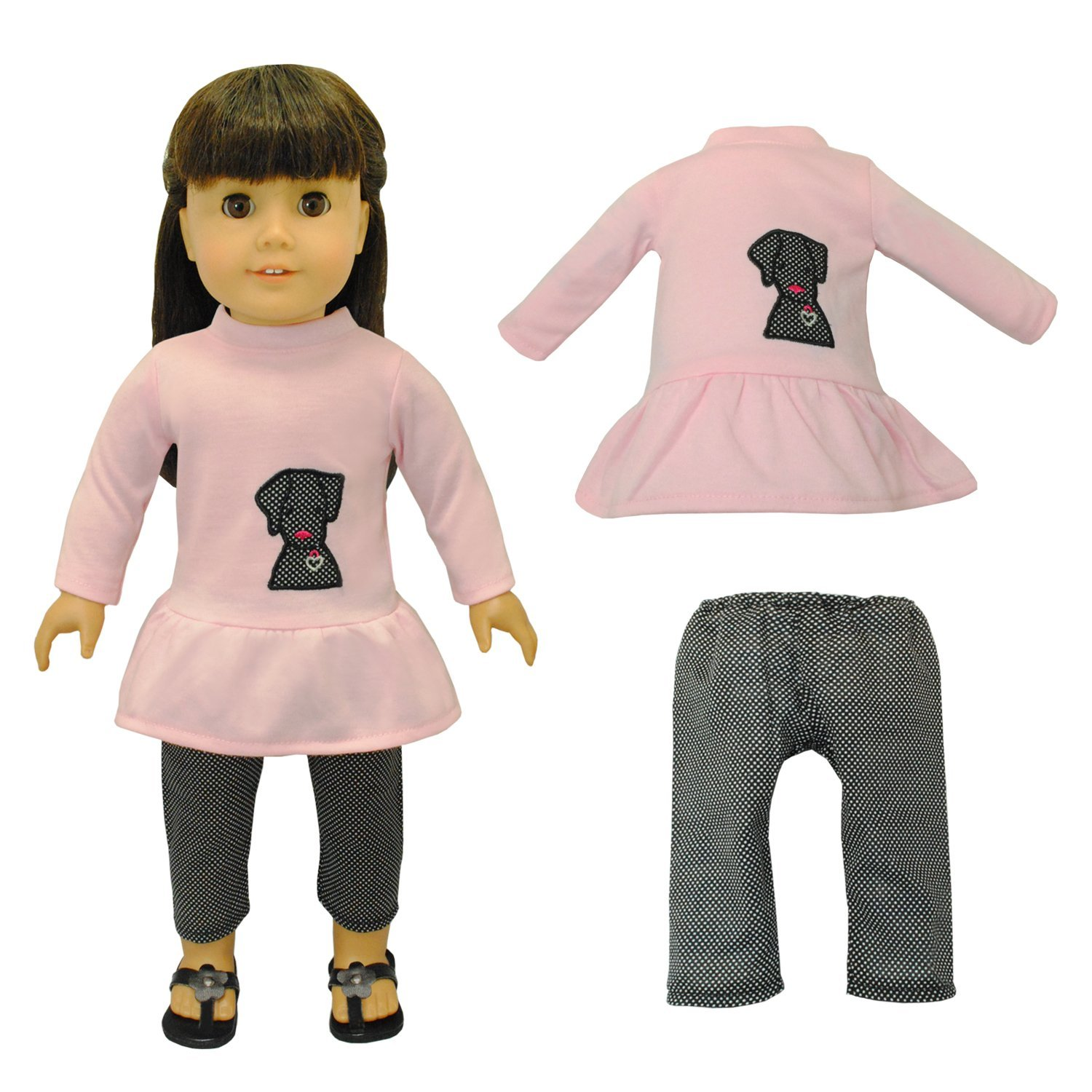 Doll Clothes Cute Dog & Capris Outfit Fits American Girl & Other 18 Inch Dolls by Pink Butterfly Closet