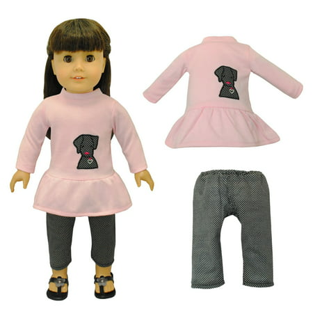 Doll Clothes - Cute Dog & Capris Outfit Fits American Girl & Other 18 Inch