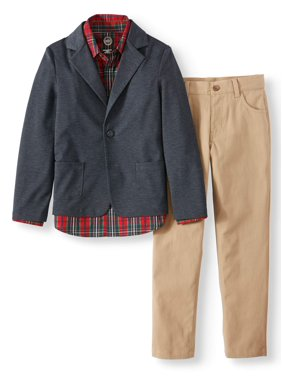 Wonder Nation Dressy Sportswear Set with Texture Blazer, Plaid Shirt and Twill Pant Set, 3-Piece Outfit Set (Little Boys & Big Boys)