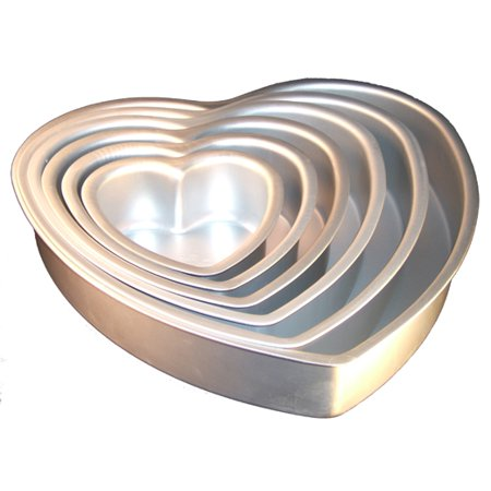 Fat Daddios Anodized Aluminum Heart Cake Pan 3-Inch Deep 6
