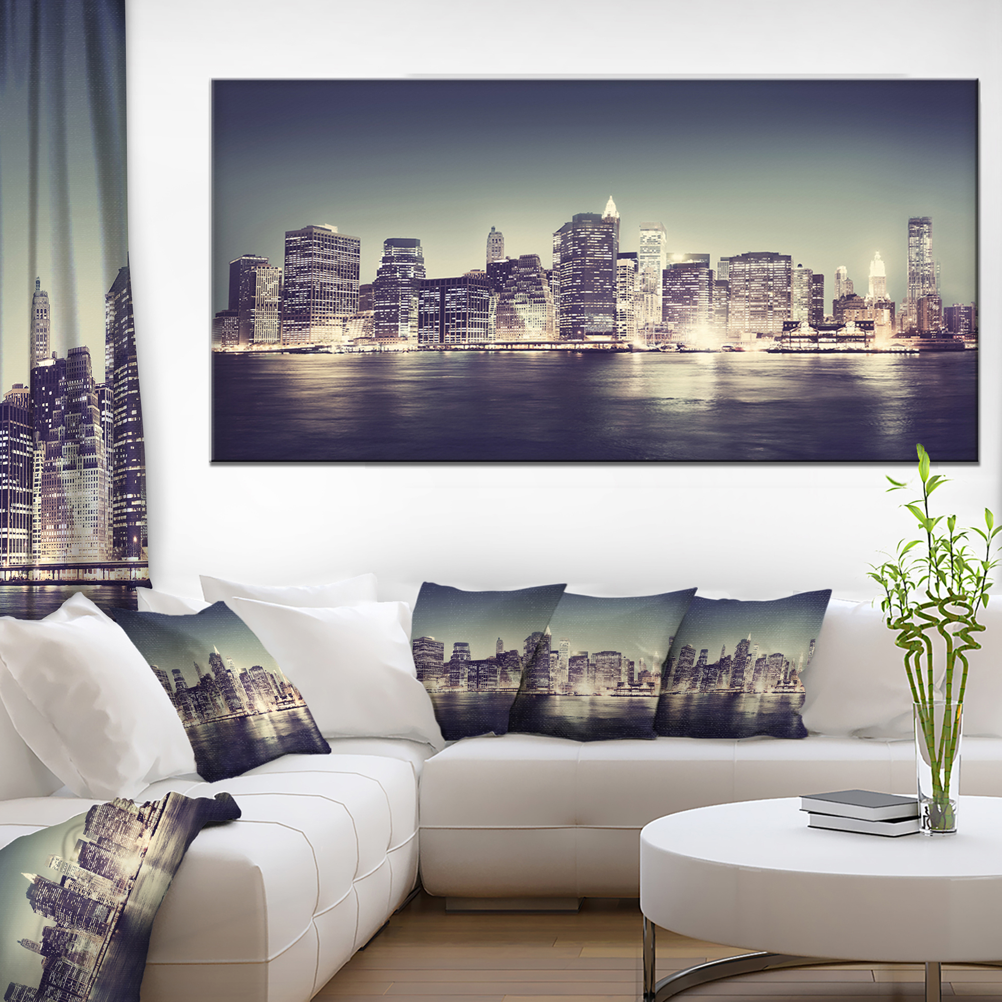 Black and white nyc night panorama extra large canvas art print