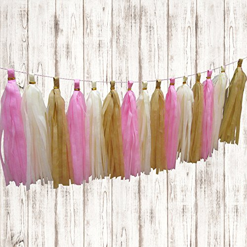 Pink Ivory And Beige Tissue Paper Hanging Tassels.15 Pcs Party Tassel Garland Banner Decoration DIY Kit.Instructions Are Included.Great For Parties, Weddings, Birthdays, Holidays, Baby Showers Etc.