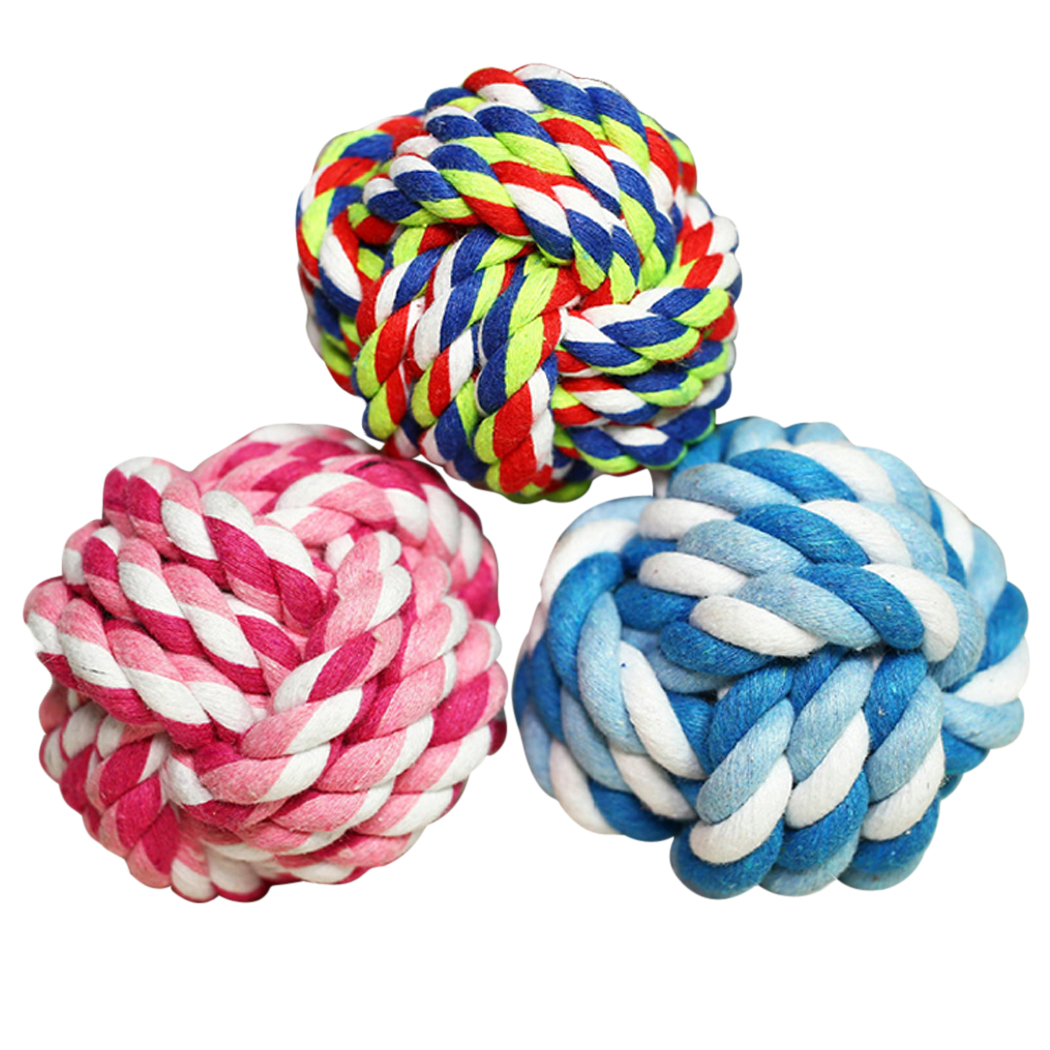 Legendog 3 Pcs Pet Toy Ball Handmade Rope Ball Dog Chew Toy Interactive Toy