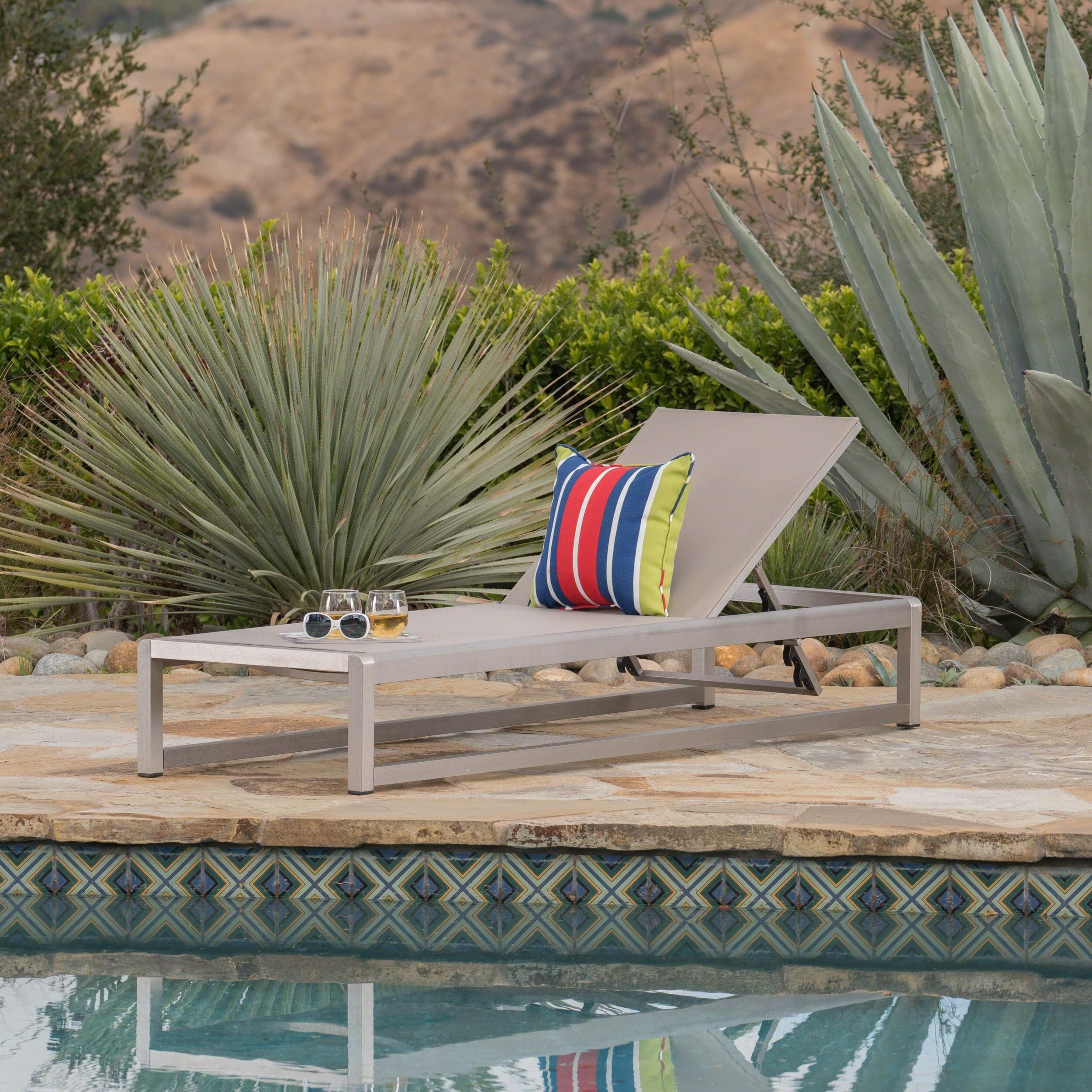 Christopher Knight Home Cape Coral Outdoor Aluminum Mesh Chaise Lounge by