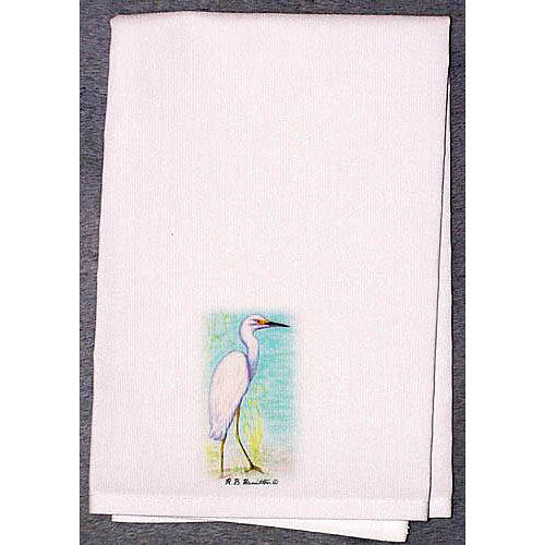 Betsy Drake Interiors Coastal Snowy Egret Hand Towel (Set of 2)