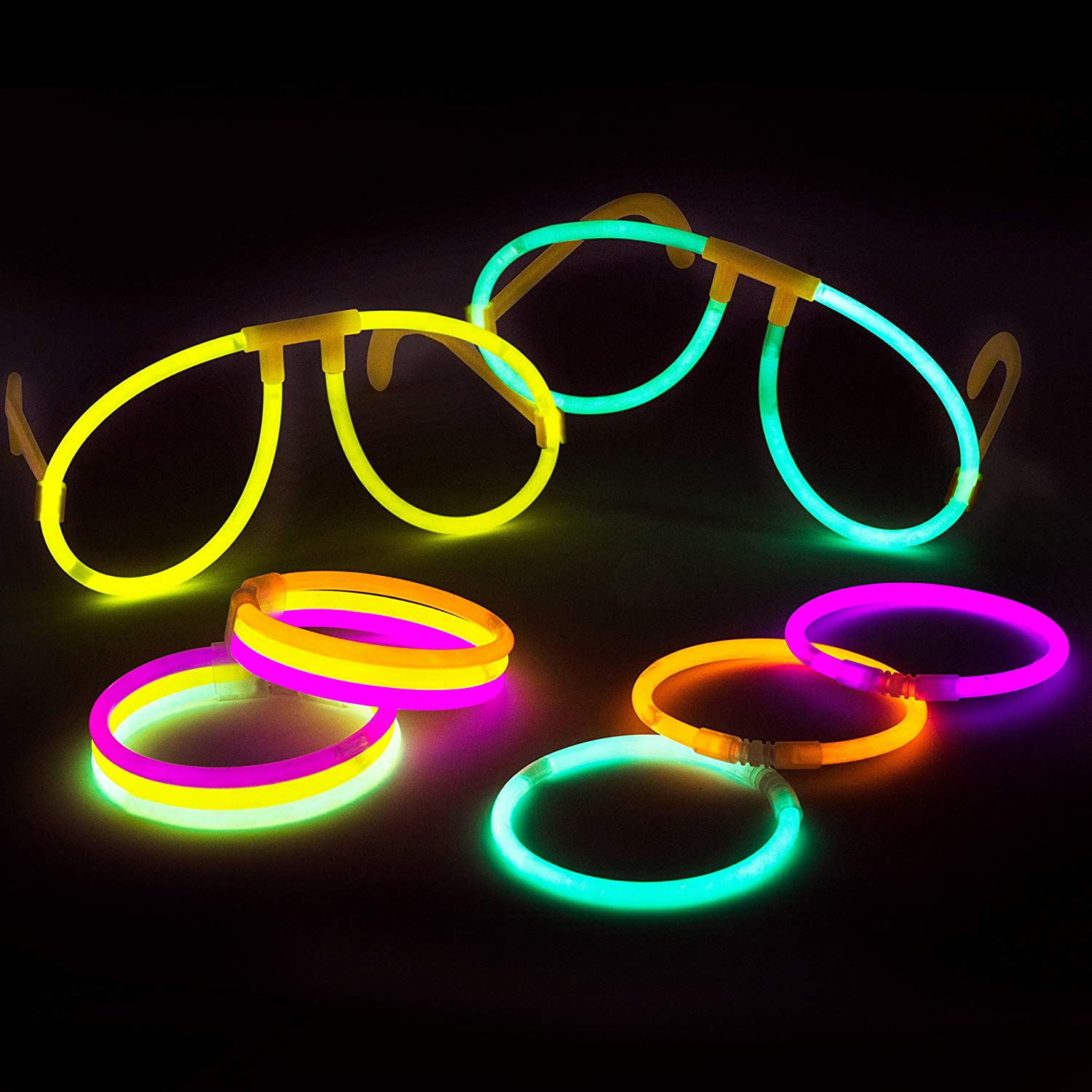 100 glow stick party pack - 100 mixed color 8 premium glowsticks