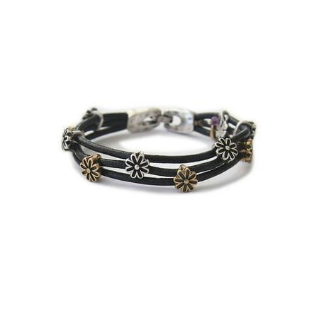 Silver and Goldtone Flower Bracelet