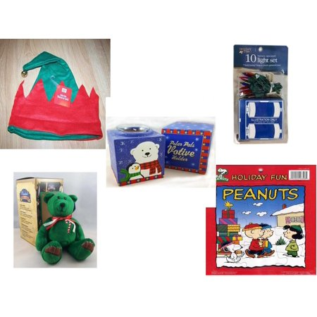 """Christmas Fun Gift Bundle [5 Piece] -  Elf Hat w/ Jingle Bell -  Time Battery Operated 10 Light Set - Polar Pals Votive Holder - Limited Treasures  Edition Green Candycane Beanie Bear  6"""" - Peanuts"""