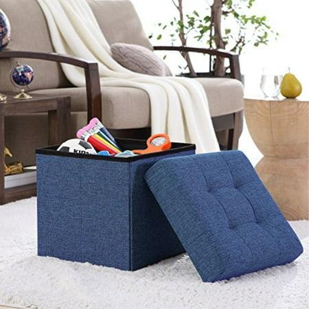 Ellington Home Foldile Tufted Linen Storage Ottoman Cube Foot Rest Stool/Seat - 15